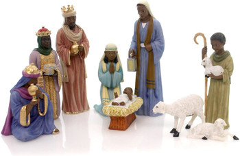 """African American Nativity - 9 piece Set, up to 6 1/8"""", PG19009"""