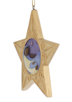 African American Blessed Mary with Baby Jesus Ornament side