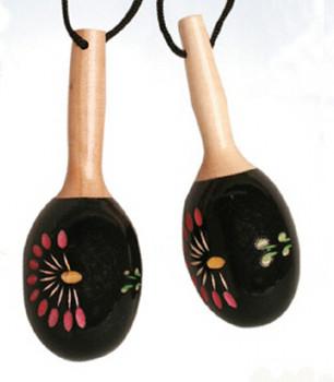 Maracas Ornament Mini Maracas Black Floral 5