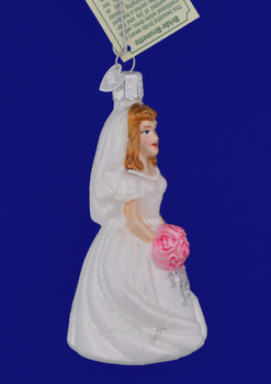 Brunette Bride Glass Ornament by Old World Christmas 10226 side view