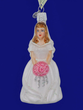 Brunette Bride Glass Ornament by Old World Christmas 10226