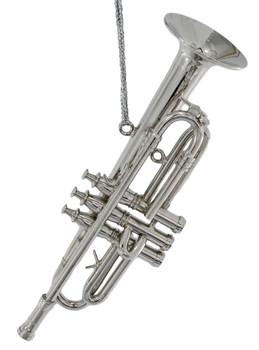 Mini Trumpet Ornament - Silver Meta
