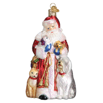 Santa's Furry Friends Glass Ornament