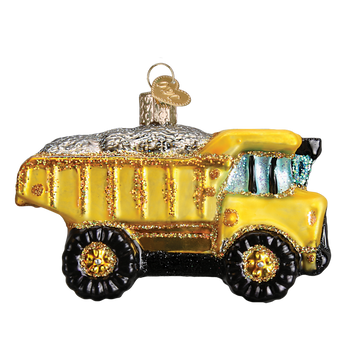 Toy Dump Truck Glass Ornament