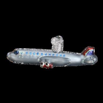 Passenger Plane Glass Ornament