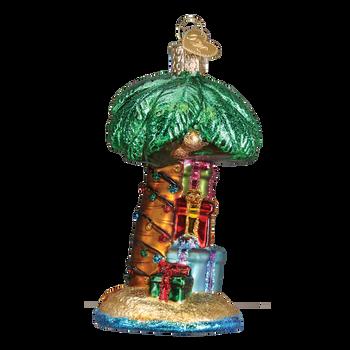 Christmas Palm Tree Glass Ornament side