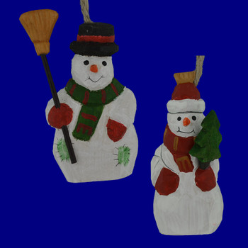 Painted Wood Snowman Ornament