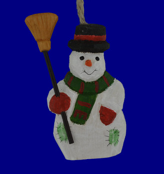 Painted Wood Snowman Ornament Black Hat