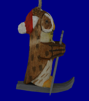Skiing Owl Wood Ornament inset 1