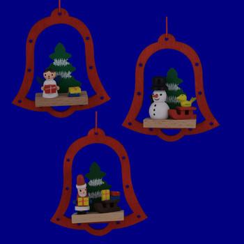 Wooden Bell Scene Ornaments