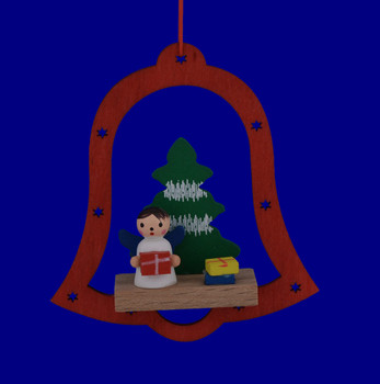 Wooden Bell Scene Ornaments with Angel