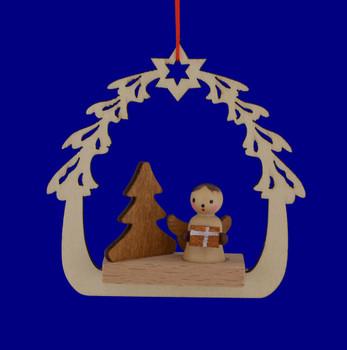 Wooden Angel in Arched Scene Ornament