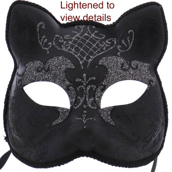 Full Size Black Cat Mask Decor or Tree Topper lighted view