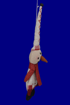 Stuffed Country Snowman Doll Ornament inset 1