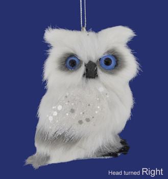 Small White Plush Owl Ornament Right