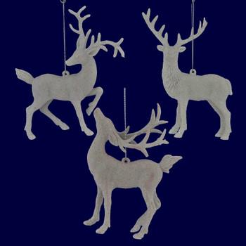 Glittered Plastic White Deer Ornament darker image
