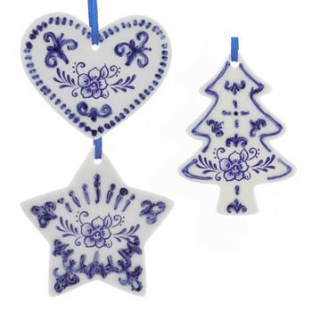 Delft Blue Style Cookie Cut Out Ornament