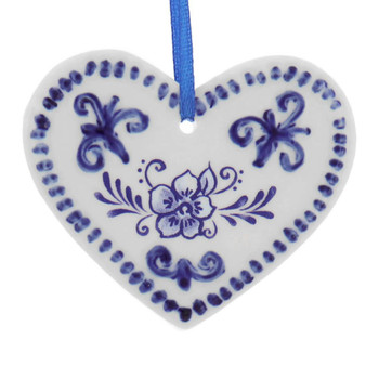 Delft Blue Style Cookie Cut Out Ornament heart front