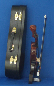 Violin 4 pc Gift Set  Decor Wood Bow Case Stand 7.75 Large inset