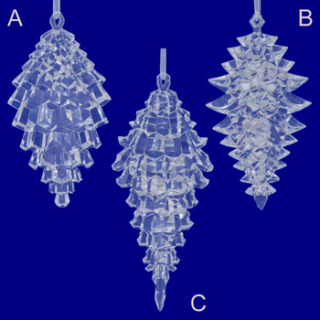 Clear Acrylic Pinecone Silhouette Ornaments