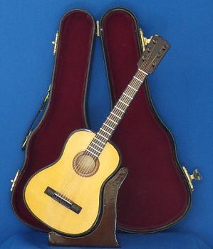 Mini Folk Guitar 3 pc Gift Set Wood Case Stand 8.5 Large