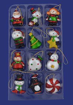 12 Assorted Miniature Ornaments H9551 inset