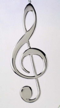 Musical Note Ornament or Decor Clef Note 5.25 Silver