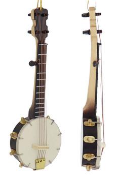 Mini Banjo Ornament - Wood front right side