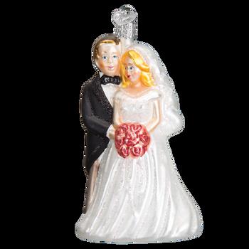 Bridal Couple Glass Ornament