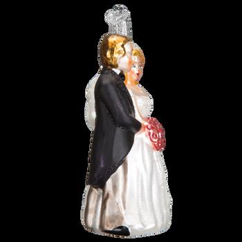 Bridal Couple Glass Ornament SIde