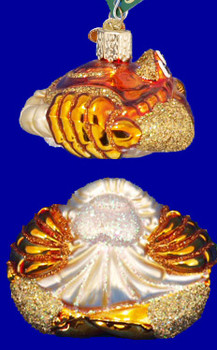 Dungeness Crab Glass Ornament Side Back