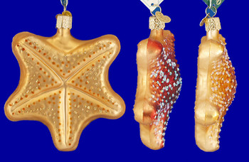 Starfish Old World Christmas Glass Ornament 12040 inset