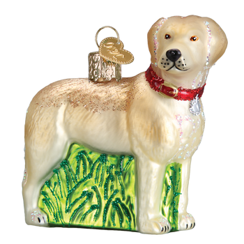 Standing Yellow Lab Glass Ornament