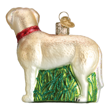 Standing Yellow Lab Glass Ornament left side