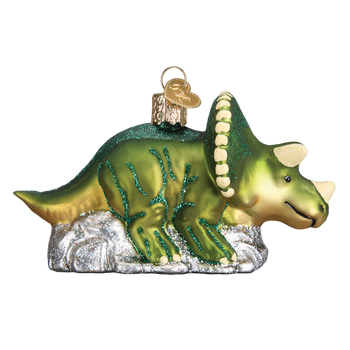 Triceratops Glass Ornament right side