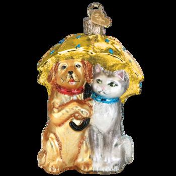 Raining Cats & Dogs Glass Ornament