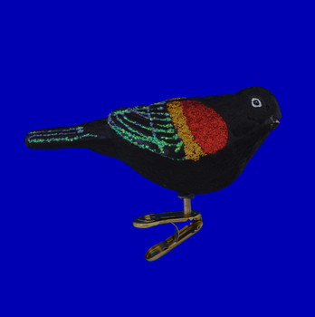 Red Winged Blackbird Old World Christmas Glass Ornament 18132 side view