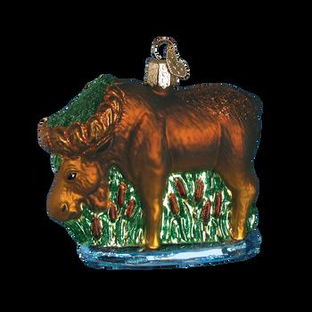 Munching Moose Glass Ornament