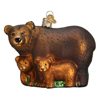 Bear with Cubs Glass Ornament