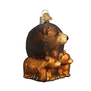 Bear with Cubs Glass Ornament Front