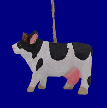 diary cow carved wood ornament