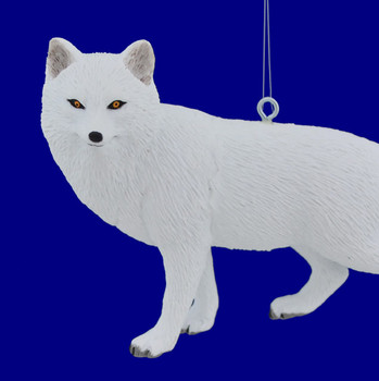 Arctic White Wolf Ornament close up
