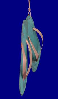 Copper Flip Flops Ornament inset side