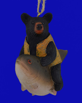Fish with Black Bear Ornament front