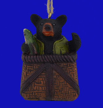 Bear in Fishing Basket Ornament front