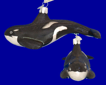Orca Whale Old World Christmas Glass Ornament 12252 inset