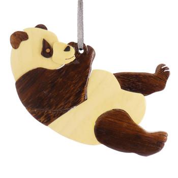 Panda Intarsia Wood Ornament