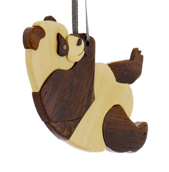Panda Intarsia Wood Ornament side