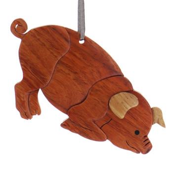 Pig Intarsia Wood Ornament