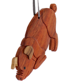 Pig Intarsia Wood Ornament side
